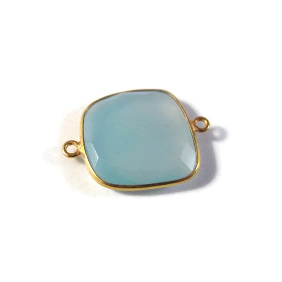 One Blue Gemstone Pendant, Square Chalcedony Gemstone Charm, Gold Plated Bezel, 25mm x 18mm (C-Ch1c)