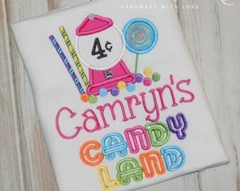 Candyland Birthday Shirt, Candy Birthday Shirt, Girl Birthday Shirt, Boy Birthday Shirt, Bubblegum machine birthday shirt sew cute creations