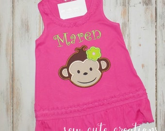 Girl Monkey Dress, Mod Monkey Dress, Girl Birthday Dress, Mod Monkey Birthday Dress, Monkey birthday outfit, Sew Cute Creations