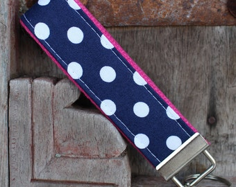 Key Chain-Key Fob-Wristlet- Navy With White Dots On Hot Pink-READY TO SHIP