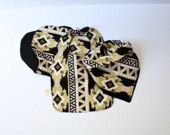 Aztec Print Black & Gold Bandana Burp Cloth Bib Set Gender Neutral Modern Baby Gear