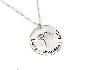 Whimsical Sterling Silver Mother's Necklace - Dandelion Design - Personalized Handstamped Jewelry