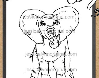 JessicaLynnOriginal.com's Stompy Elephant© Digital Rubber Stamp - Baby elephant download digital stamper