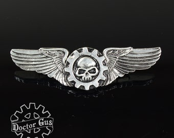 Airship Pilot Wings - Mechanicus Wings - Steampunk Pilot Wings - Handcrafted Cosplay Accessories by Doctor Gus - Rank Badge Insignia - wh40k