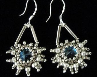Snowflake Earrings, Silver Earrings, Evening Jewelry, Seed Bead Earrings, Crystal Earrings, Bridal Earrings,