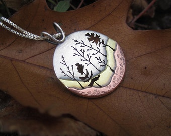 Heritage Trail Woodland Forest Mixed Metal Handmade Pendant