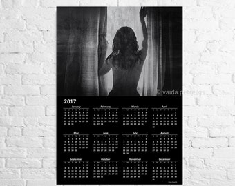 Naked art ON SALE Wall calendar  2017 A3 poster in black and white Naked woman near the window Nude Sexy photo Sexy calendar Mens gift