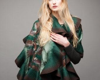 Felt Scarf - Wavy ruffled Shawl - Playing Green and Brown - Handmade wool and silk gift