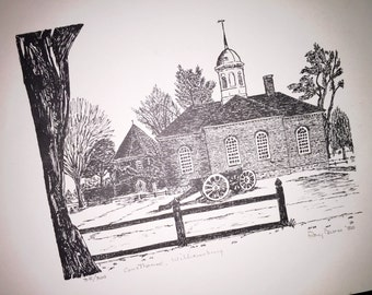 Williamsburg Court House Print by Ray Davis