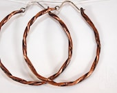 Twisted copper hoop earrings, large 2.25 inch diameter, with stars and lines, sterling silver ear wires -- salvaged copper electrical wire