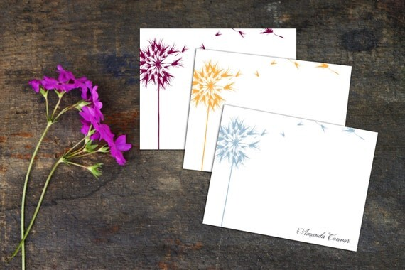 Floating Dandelion Flat Notecard, Set of ten Note Cards, Fun Simple Note Cards, Personalized Note Cards, Custom Note Cards, Thank you cards