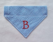 Seersucker Dog Bandana,Turquoise and White, 1 Letter, Monogrammed Dog Bandana, Dogs Accessories, Pet Clothing,Dogs, Personalized Dog Bandana
