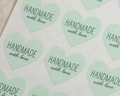 48 Handmade With Love Heart Stickers, Handmade Stickers, Handmade Labels, Mint Green Labels, Handmade With Love Stickers, Envelope Seals