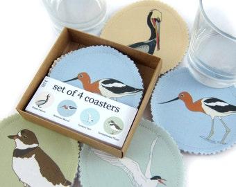 Shorebird Fabric Coaster Set