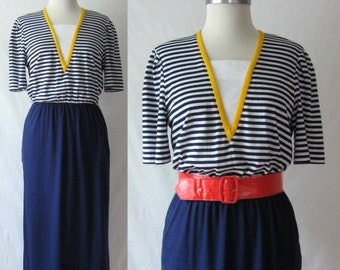 Striped Dress 70s 80s Dress Nautical Blue + White Dress with Pockets by Kay Windsor