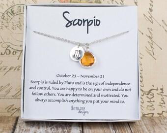 Scorpio Zodiac Silver Necklace, Scorpio November Necklace, November Birthday Jewelry, Zodiac Symbol Necklace, Astrology Silver Necklace