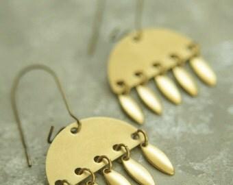 Adana Chandelier Earrings, Brass Chandelier Earrings, Simple Dangle Earrings