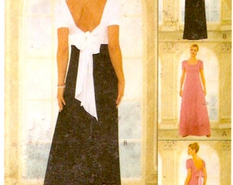Romantic Evening gown with back bow bridesmaid dress lined sewing pattern McCalls 9098 Size 6 to 10 UNCUT
