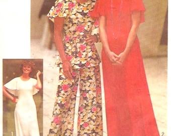 70s Butterfly dress knit cape dress top pants Bridesmaid knitwear evening wear vintage sewing pattern Simplicity 7128 Sz 14 bust 36 UNCUT