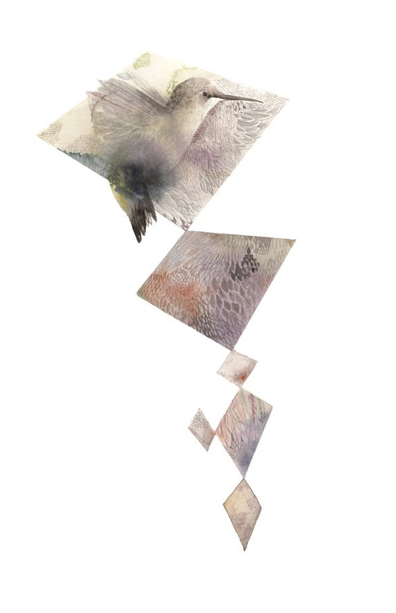 "Hummingbird watercolor painting-  print ""Hummingbird Diamonds"" watercolor, geometric decor, geometric, bird, muted,feathers,pattern"