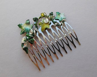 Green Ivy Leaves Hair Comb -- Large Ivy Vine, Swarovski Crystals, Silver Comb, Silver Wire wrapped, Wedding Hair Accessory, Elven Jewels
