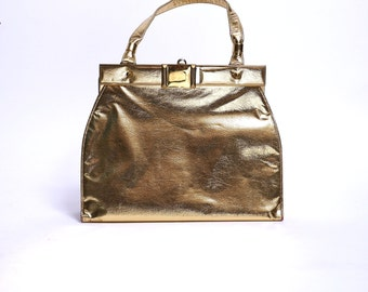 1950s Gold Handbag Hidden Mirror Metallic Purse Medium Size