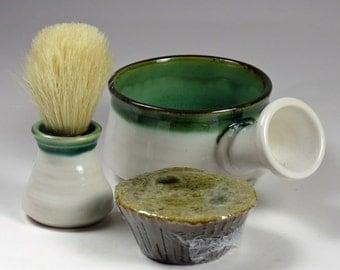 White Mint Shaving Bowl with brush for Dad - Pottery Shaving Mug - Lather Mug