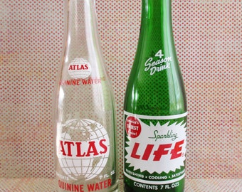 Pair of Vintage Retro Pop / Soda Bottles - Atlas and Sparkling Life
