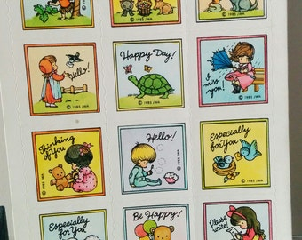 Vintage Sheet of Joan Walsh Anglund Stickers Full Sheet Dated 1985