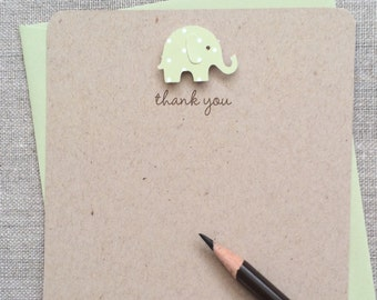 Set of 16 Gender Neutral Recycled Baby Elephant Baby Shower Thank You Cards