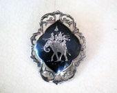 Vintage Siam Brooch Nielloware Pin Black Engraved Sterling Silver Elephant Thai Jewelry Filigree Folk Art Thailand Asian Accessory Niello