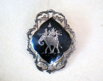 Siam Sterling Brooch, Vintage Nielloware, Thai Elephant Jewelry, Engraved Silver Pin, Filigree Folk Art, Asian Accessory, Thailand Niello