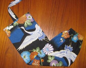 Grocery Store Plastic Bag Dispenser Asian Japanese Fabric Cranes Design