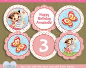 Kitty Cat Cupcake Toppers / INSTANT DOWNLOAD kitten birthday toppers / girl cat printable circles #P-2-cupcake - you can edit text from home