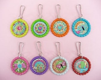 ZIPPER PULLS Set of 8 | Girls Birthday Party Favors |Tags Bottle Caps Lanyard Hooks Backpacks Coats Diaper Bags School Daycare Babysitter