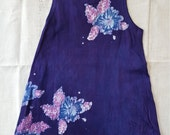 Girl's 4 floral hibiscus flower batik tank dress