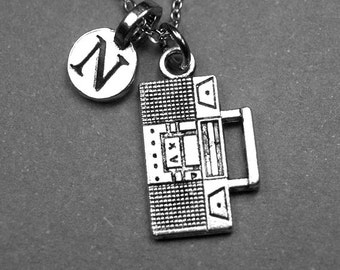 Boom box Necklace, Boombox Necklace, Cassette tape player, CD Player, retro stereo, personalized necklace, initial necklace, monogram letter