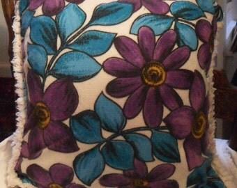 Vintage Mod PILLOW COVER Case 60's London Purple Turquoise FLOWERS Daisies Chenille Fringes & Zipper