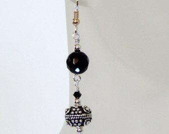 Black Onyx Silver Earrings Onyx Earrings Dangle Earrings Black Onyx Sterling Silver Gemstone Earrings Black Onyx Jewelry Gift For Her