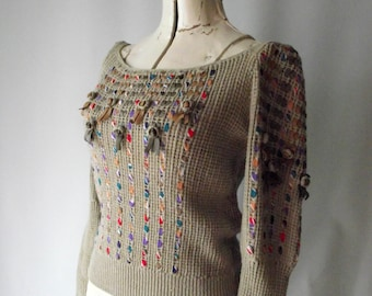 Seventies Leather and Ribbon Woven Sweater Fitted with Puff Sleeves Small
