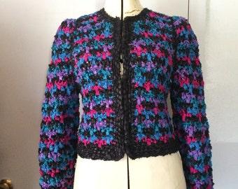 Estelle Gracer Ribbon Crochet Sweater 1980's Rainbow Purple OOAK Rag Sweater Jewel Tones Small