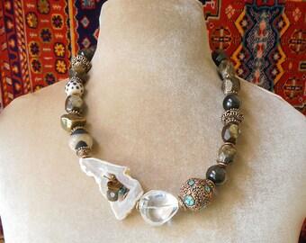 Organic Design art to wear assemblage statement necklace