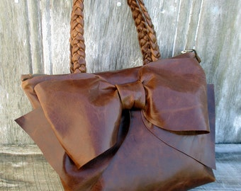 Leather Bow Petite Handbag in Distressed Semi Gloss Brown Leather by Stacy Leigh