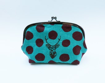 Cosmetic bag, stags head design, turquoise and brown, cotton purse