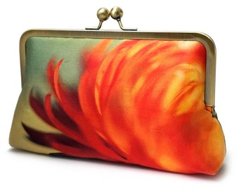 Clutch bag, silk purse, gift for her, contemporary clutch, orange yellow handbag, FLAME FLOWER