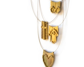 Gold Fringe Necklaces, Symbol Jewelry, Kinetic  Inlay in 14K Gold Plated, Heart, Cross, Infinity, Hamsa