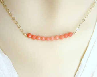 coral  necklace with14K gold filled chain , bridal jewelry, coral necklace, beach wedding