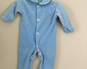 Vintage Soft Blue Bunny Rabbit Baby Footed Pajamas Sleeper 0-3 months