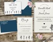 Cute Mountain theme Wedding Set, Invitation, RSVP, Return Address, Pine Tree Wedding Invitation, Wedding Invitation Stamps --13010-MULT-000