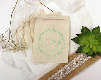Custom Wedding Favors, Muslin Bags, Personalized Wedding Bags, Welcome To Our Wedding, Couple's Names, 5 x 8  --64513-MB06-610